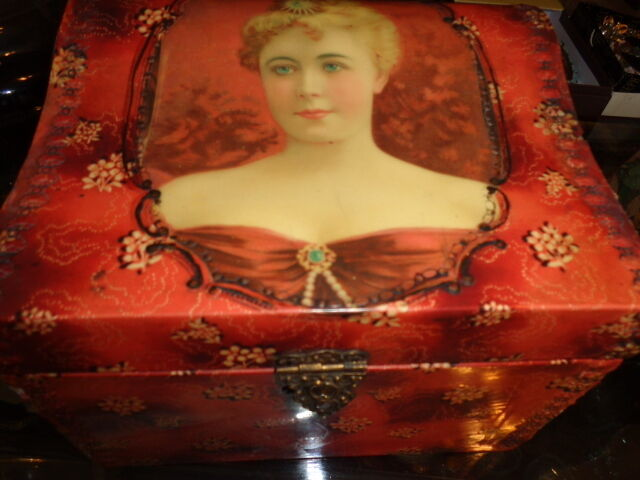 ANTIQUE VICTORIAN BEAUTIFUL LADY IN RED PORTRAIT CELLULOID COLLAR DRESSER BOX