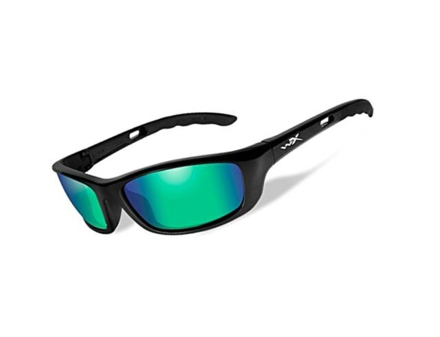 cbaeb31412fb7 Wiley X P-17 Sunglasses Polarized Emerald Mirror Gloss Black for ...