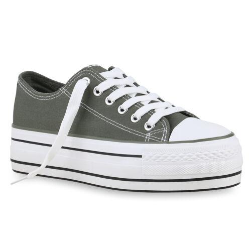 Damen Plateau Sneaker Turnschuhe Schnürer Basic Plateauschuhe 825885 Schuhe