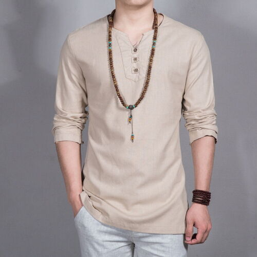 Men/'s Linen Pullover Shirts Full Sleeves Casual Shirts Loose Asian Size New