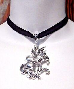 diseño de fantasía mítico Collar Colgante de Plata Unicornio