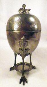 Victorian-Silverplate-Egg-Cooker-Swan-Finial-Repousse-Floral-Lid-M-amp-M-W420