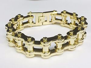 Image Is Loading 14 Kt Solid Gold Mens Heavy Motorcycle Bike