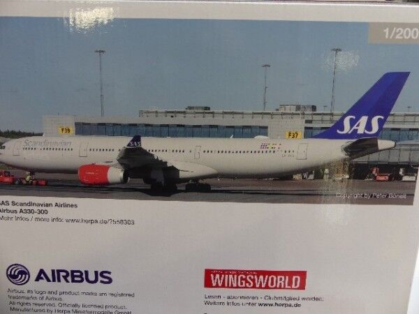 saludable 1 200 200 200 Herpa SAS Scandinavian Airlines airbus a330-300 Helge Viking 558303  descuento online