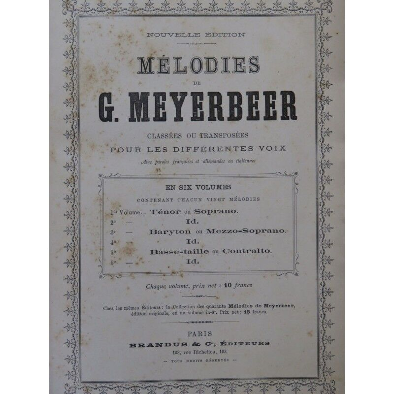 Meyerbeer g. Melodies 20 Teile chant Piano ca1885 Partitur Sheet Music Score