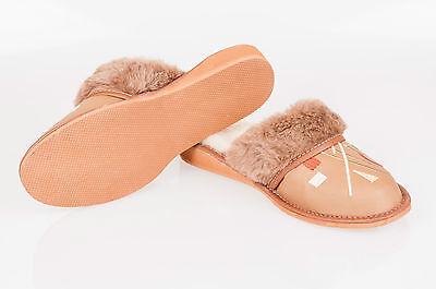 Las mujeres `s/ladies calentado Zapatillas 100% Cuero Natural & sheepwool Tamaño: UK3,4,5,6,7,8