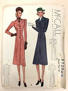 Sewing-Pattern-McCall-9720-Size-18-Misses-Coat-No-Instructions-1930s-1938
