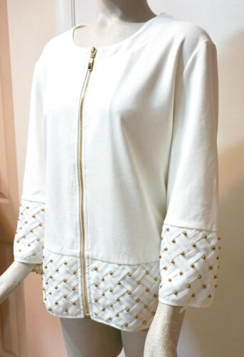 NWT $129 Chico's Travelers Collection Faux Suede Mix Jacket Ecru Off White