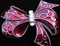 Monet Gold Burgandy Red Celebration Birthday Package Bow Pin Brooch Jewelry