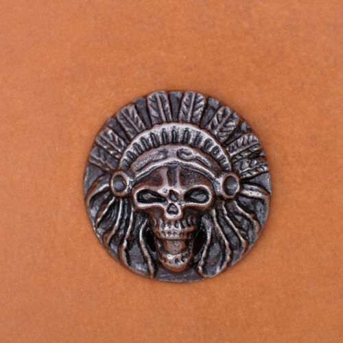 "1-1//8/"" 10pcs Antique Silver Indian Head Stud Leathercraft Conchos Wallet Belt"