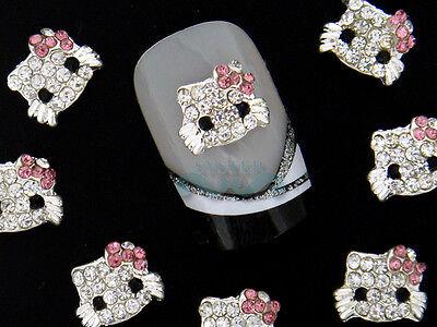 10 Pcs Alloy Jewelry 3D DIY Rhinestone Nail Art Glitters Slices SA044