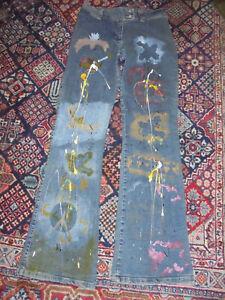 rare-true-vintage-Schlaghose-Jeans-Hippie-hand-painted-designer-pants-Gr-44