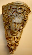Vintage Green Leaf and Grapes Woman Face Wall Sconce Greek Bracket