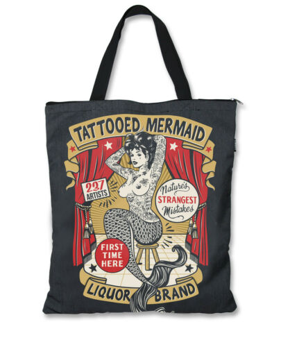 Liquor Brand Traditional Tattooed Mermaid Canvas Purse Tote Bag LB-TOB-00107