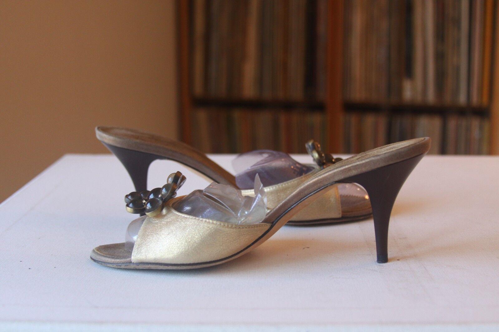 Giuseppe Zanotti Design Design Design Vicini gold Leather Crystals 3 Inch Heel Slides Size 6 B 5e3f55