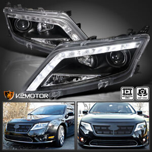 Image Is Loading 2010 2017 Ford Fusion Black Led Projector Headlights