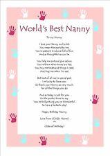 Item 2 Personalised Birthday Poem Keepsake For Worlds Best Nanny Grandma Gift Card