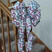 White Satin Bow With Glittered Dots In A Chevron Pattern Christmas Decoration