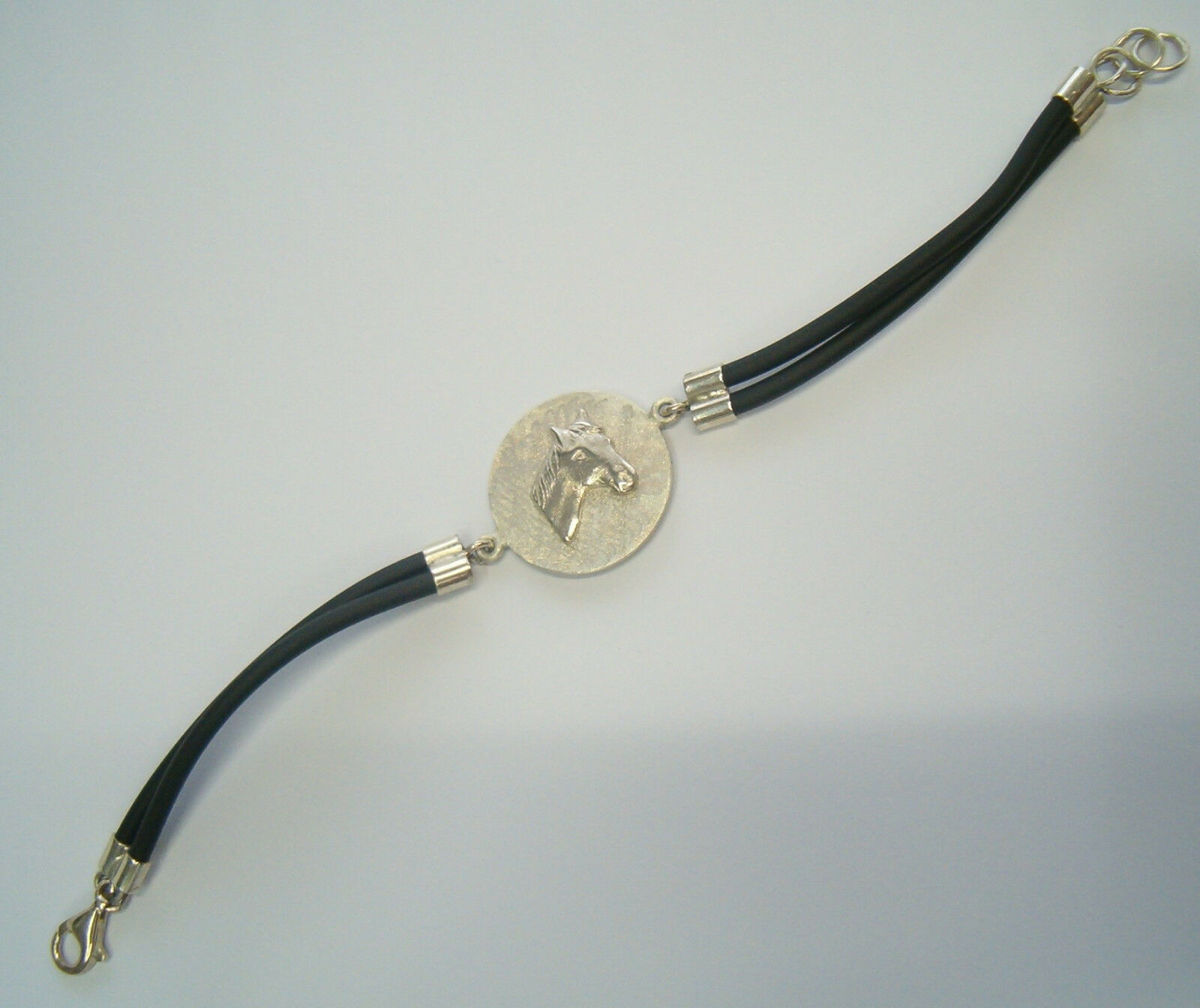 Braccialetto Braccialetto Braccialetto con CAVALLO in argentoo 925 e caucciù - bracciale Equitazione - bab434