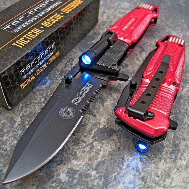 TAC-FORCE RED FIRE FIGHTER Spring Assisted Open RESCUE LED LIGHT Pocket Knife
