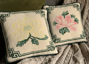 Needlepoint-Wool-Pillows-PAIR-Floral-Pink-Yellow-Flowers-Petit-Point-13-x-13
