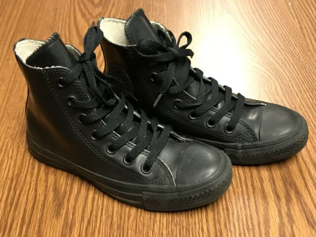 76d84ed31b6a32 Converse Chuck Taylor 344740C Black Rubber High Top Sneakers Shoes Big Kids  Sz 3