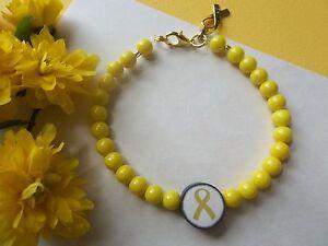 Childhood Cancer Awareness Yellow Golden Ribbon Beaded Bracelet Ebay