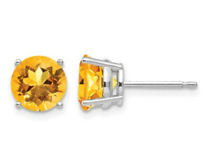 Natural-Citrine-2-50-Carat-ctw-Solitaire-Post-Earrings-in-14K-White-Gold
