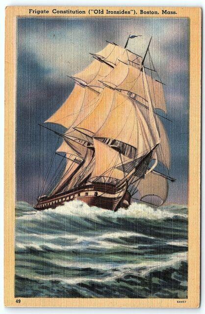 VTG Postcard Linen Frigate Constitution Old Ironside Boston MS Massachusetts B2
