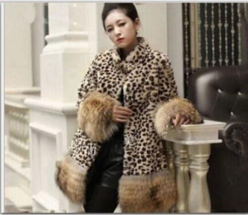 pelliccia Cappotto stile di volpe visone donne di di Leopard pelliccia di della lungo di visone Chic pelliccia delle della EqgrE6t
