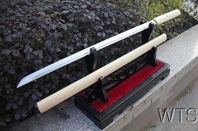 """38.6"""" Japanese Hand Forged Shirasaya Straight Sword Full Tang"""
