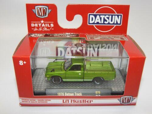 M2 S75 1//64 scale Auto Thentics 1976 Datsun Truck Pick Up Green MIB VHTF
