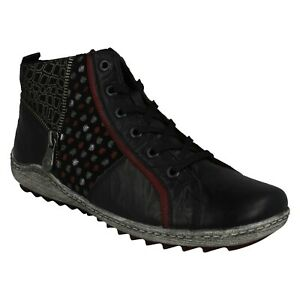LADIES REMONTE BLACK LEATHER LACE UP
