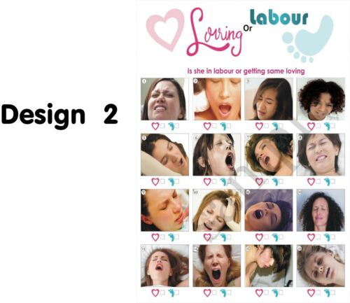 LABOUR OR LOVE,BUMP//BEER//10 PLAYERS,BABY SHOWER GAME,LABOR PORN A4 SIZE LARGE