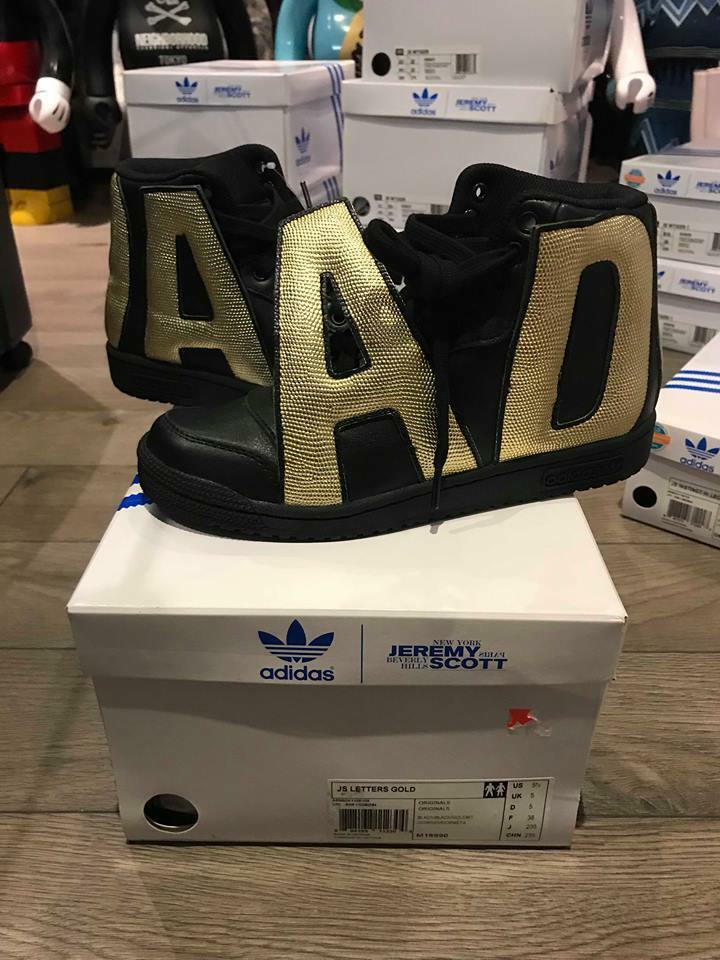 NEW ADIDAS JEREMY SCOTT JS LETTERS 5.5 GOLD SHOES 100% AUTHENTIC 5.5 LETTERS BAE RARE b52713