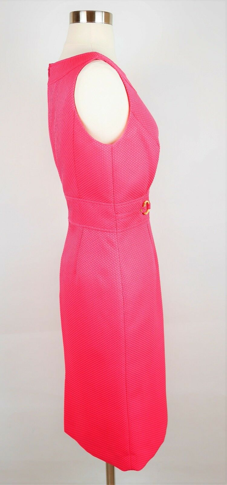 1331ae9e ... TAHARI ASL Size 6 - HOT PINK PINK PINK TEXTURED PRINT SLEEVELESS SHEATH  DRESS Knee Length ...
