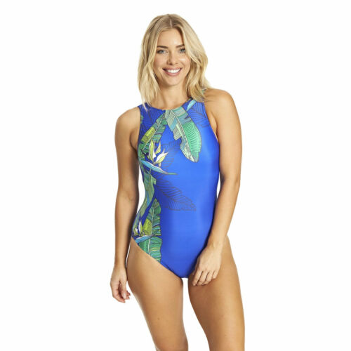 Zoggs Corsica High Neck Swimsuit Size 16 18 Blue Tropical Swimshapes RRP £38