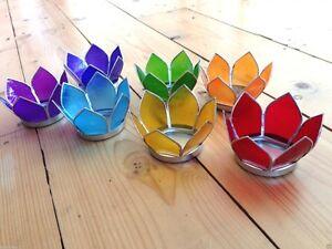 Capiz shell 7 chakra lotus flower tea light candle holder set healing reiki home ebay - Capiz shell tealight holder ...