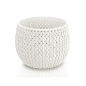 White Small Lovely Flower Pot Planter Basket-Home Office-Woven Knitted Effect