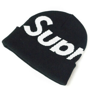 NEW Supreme FW17 Big Logo Beanie Black 100% Authentic IN HAND! d94f4acf423