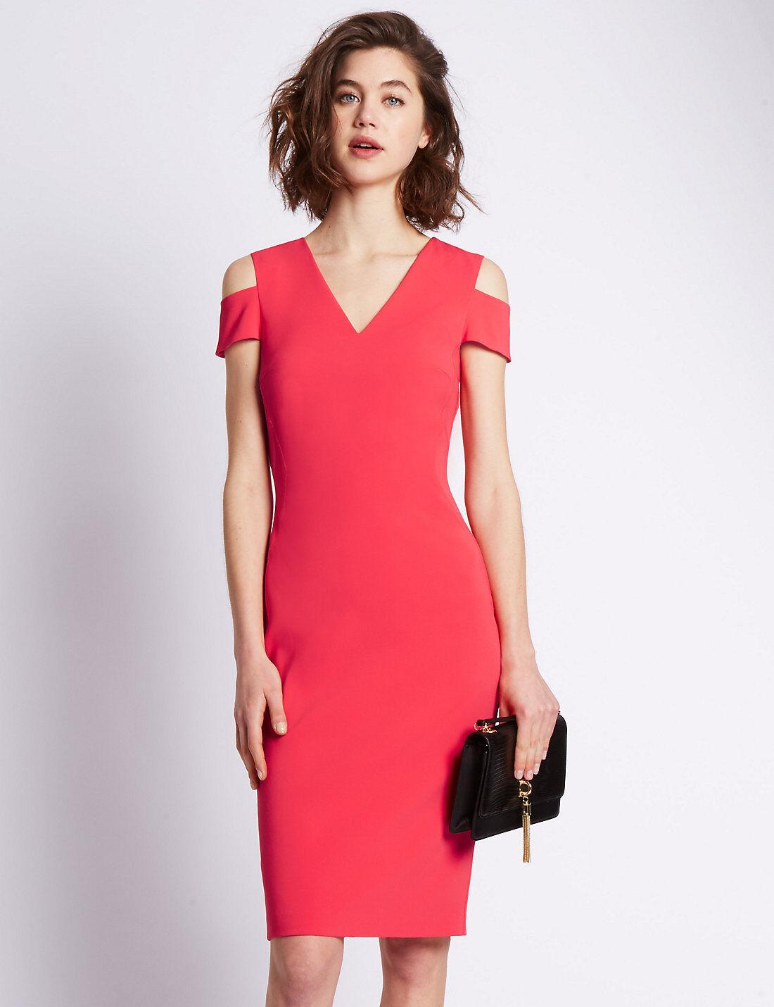 New M&S Per Una Speziale Pink Cold Shoulder Dress Sz