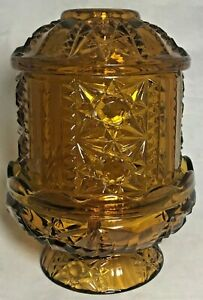 Indiana-Glass-Co-Amber-Stars-and-Bars-Fairy-Lamp-Votive-Candle-Holder-6-5-034-Tall