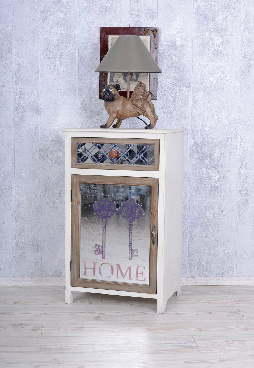 Chevet Landhaus armoire à miroir armoire antique glasschrank Nuit Armoire