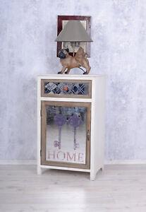 Vintage-Armoire-de-nuit-shabby-chic-Table-chevet-miroir-console