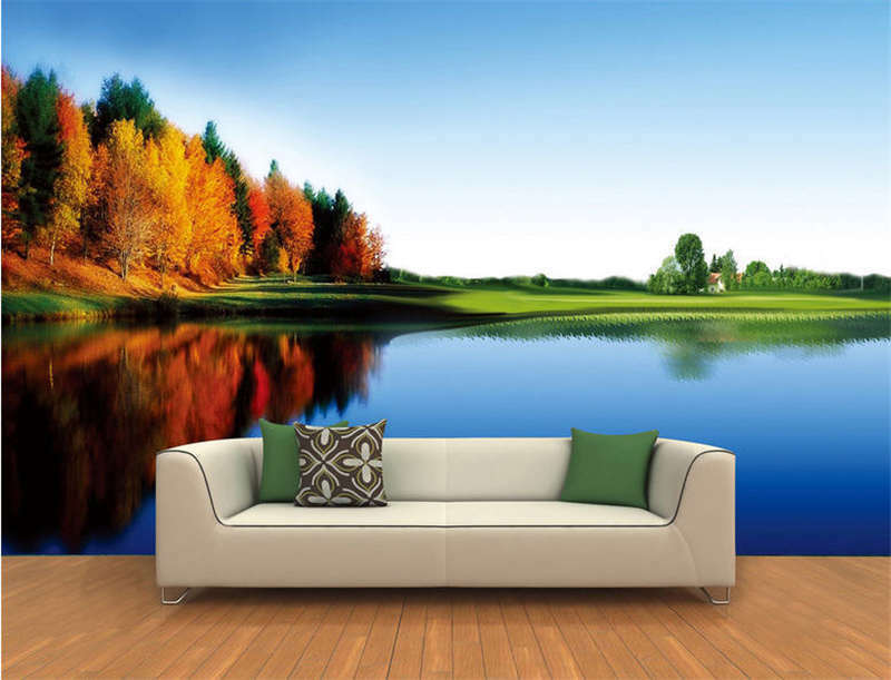 Lake To Autumn Full Wall Mural Photo Wallpaper Printing 3D Decor Kids Home