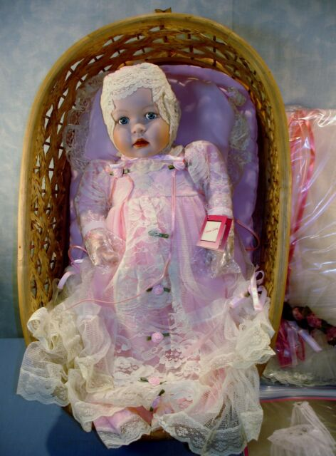 Ashton Drake Victorian Lullaby Porcelain Doll and Cradle, New in Box