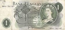 Great Britain 1 Pound  ND. 1970's  Que. II  Series R10E Circulated Banknote MX8F