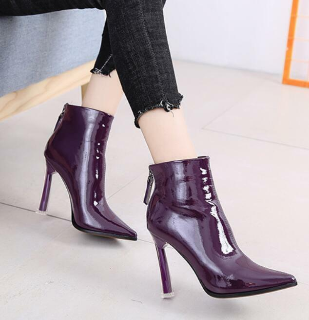 donna Stilettos High Heels Ankle stivali Side Zip Pointed Toe Leather Party scarpe