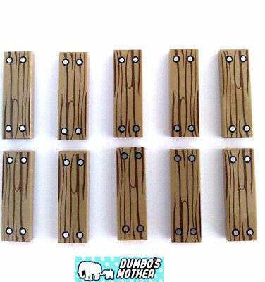 LEGO 1x3 Dark Tan Wood Grain PRINTED Tile 1x3 Tils 4 Silver Nails Pattern X10