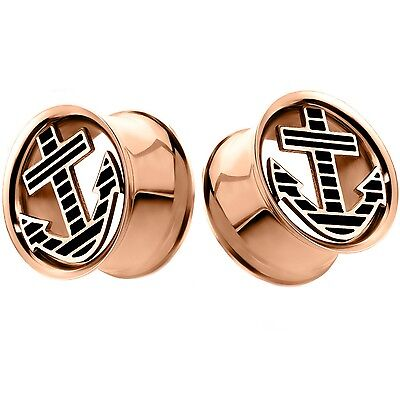 """0 Gauge-5//8/"""" PAIR ANCHOR CUT CENTER DOUBLE FLARED TUNNELS PLUGS EAR GAUGES"""